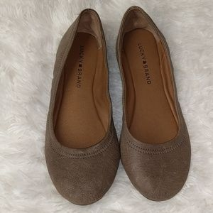 Lucky Brand Emmie Leather Flats Taupe sz 7.5